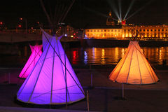 Lights and tents on Rhone river Royalty Free Stock Photo