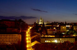 Lights towards the Santiago de Compostela Cathedral. At night Royalty Free Stock Images