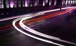 Lights of traffic. Beams of light made by street traffic in the night royalty free stock photo