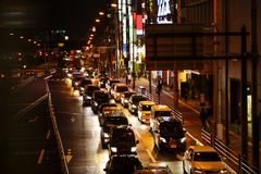 Lights of Traffic on a Busy City Road at Night. royalty free stock images
