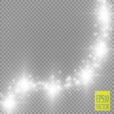 Lights on transparent background. Vector white glitter wave abstract illustration. White star dust trail sparkling Royalty Free Stock Photos