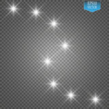 Lights on transparent background. Vector white glitter wave abstract illustration. White star dust trail sparkling. Lights on transparent background. Magic Stock Photos