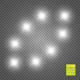 Lights on transparent background. Vector white glitter wave abstract illustration. White star dust trail sparkling. Lights on transparent background. Magic Stock Photo
