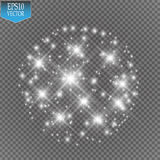 Lights on transparent background. Vector white glitter wave abstract illustration. White star dust trail sparkling Stock Images