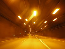 Lights tunnel driving Stock Image