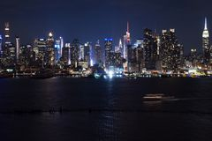 These lights will inspire you. Long exposure shot of New York City royalty free stock photos