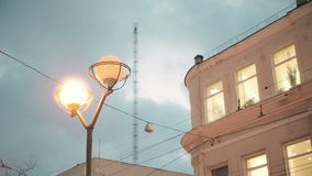 Lights in windows and lamps in heart of Odessa in the twilight. Ukraine, Europe stock video