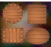 Lights on wooden background, frame with garlands,. Woodworks. Illustration Royalty Free Stock Photography