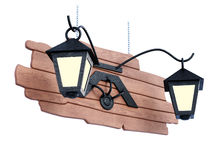 Lights on a wooden sign. 3d illustration. Royalty Free Stock Images