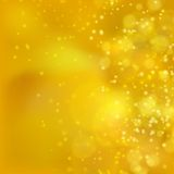 Lights on yellow background bokeh effect. Royalty Free Stock Image