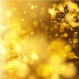 Lights on yellow background bokeh effect. Royalty Free Stock Photo
