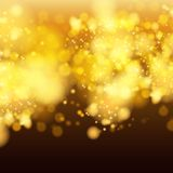 Lights on yellow background bokeh effect. Royalty Free Stock Images