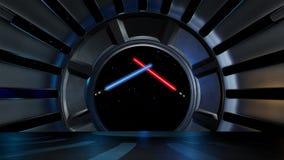 Lightsaber в окружающей среде космоса, подготавливает для comp Стоковые Фото