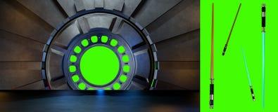Lightsaber dans l'environnement de l'espace, préparent pour des élém. de votre characte Images stock