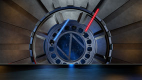 Lightsaber in space environment, ready for comp of your characte Royalty Free Stock Image