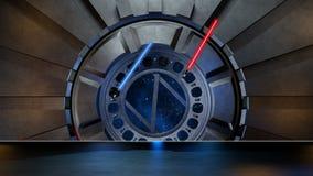 Lightsaber w astronautycznym środowisku, przygotowywającym dla comp twój characte Obraz Royalty Free