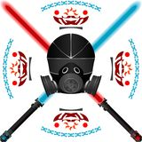 lightsabers шлема иллюстрация вектора