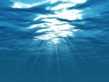 Lightshine op blauwe golven Royalty-vrije Stock Foto