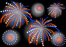 Lightshow. Vector drawing colorful firework on background of dark sky Royalty Free Stock Photo