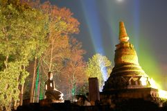 Lightshow at temple Wat Phra Kaeo, Kamphaeng Phet Stock Photo
