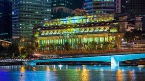 Lightshow Timelapse d'hôtel de Singapour Fullerton banque de vidéos