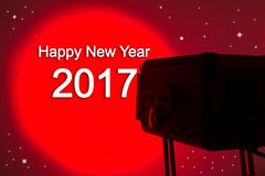 Lightspot for stage with text Happy new year 2017. Red lightspot for stage with text Happy new year 2017 Stock Photos