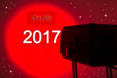 Lightspot for stage written 2017 on air. Red lightspot for stage written 2017 on air Stock Photography