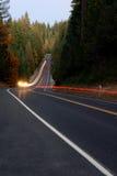 Lightstreaks en la carretera del bosque Foto de archivo libre de regalías