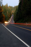 Lightstreaks on Forest Highway Royalty Free Stock Photo
