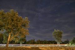 Lighttrail del coche debajo del cielo por completo de estrellas Fotografía de archivo