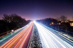 Lighttrail a na A1 autostradach Obrazy Stock