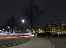 Lighttrails Амстердам майны цикла Стоковое Изображение