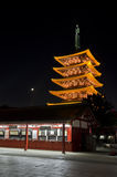 Lightup to Japan Pagoda in Sensoji Temple. Stock Image