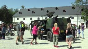 OLOMOUC, CZECH REPUBLIC, MAY 5, 2018: Lightweight armored vehicle Iveco LMV with 12.7 mm machine gun M2 M151 firepower stock video