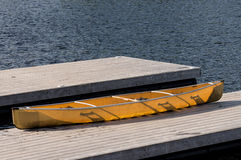 Lightweight canoe on a dock Royalty Free Stock Image