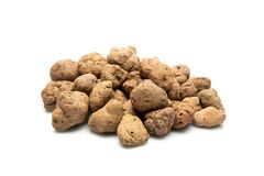 Lightweight expanded clay aggregate isolated on white background, building material. Also known as claydite. Lightweight expanded clay aggregate, isolated on Stock Photography