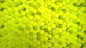 Lightweight, minimal, clean, moving hexagonal yellow mesh wall with shadows. Abstract honeycomb background. Wide format
