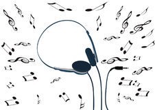Lightweight music headphones with music notes Royalty Free Stock Photography