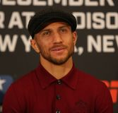 Lightweight world champion Vasiliy Lomachenko during final press conference before title unification fight against Jose Pedraza. NEW YORK - DECEMBER 6, 2018 royalty free stock photos