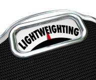 Lightweighting słowa skala zmniejszania msza materiału ulepszenie Obraz Stock