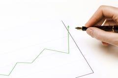 Lign verde dos gráficos que vai acima Fotografia de Stock