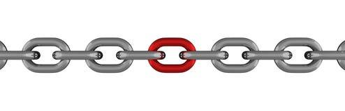 Ligne à chaînes en métal avec l'élément rouge d'isolement illustration libre de droits
