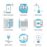 Ligne à la maison icônes de rendement énergétique réglées Image stock
