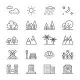Ligne éléments et maisons de paysage de nature de vecteur Arbres d'ensemble et icônes de montagnes illustration de vecteur