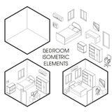 Ligne éléments mince isométrique de vecteur intérieur de créateur de chambre à coucher illustration libre de droits