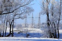 Ligne électrique à haute tension dans une forêt neigeuse Photo stock