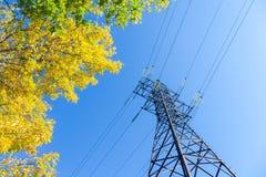 Ligne électrique à haute tension et ciel bleu photos stock