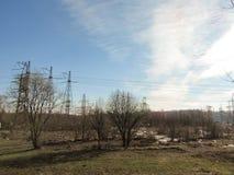 Ligne électrique à Moscou image libre de droits