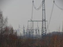 Ligne électrique à Moscou images stock