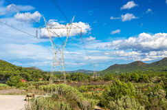 Ligne électrique électrique et un paysage de la Communauté Valencian, Espagne Photo stock